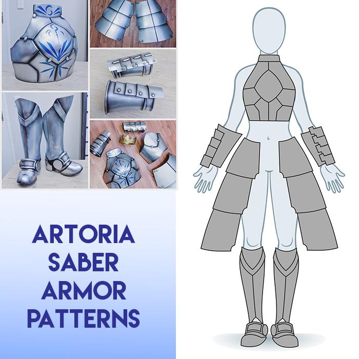 Saber Artoria Cosplay Armor Patterns Kinpatsu Cosplay